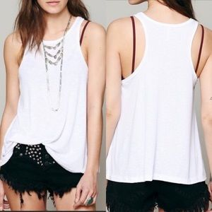 Free People White Swing Tank Top